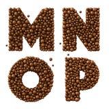 As letras M N O P isoladas no branco, feito do chocolate borbulham, conceito do chocolate de leite, ilustração 3d Imagem de Stock Royalty Free