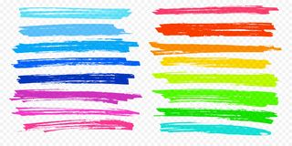 As linhas ajustadas da pena de marcador da cor do vetor do curso da escova do destaque sublinham o fundo transparente imagens de stock
