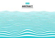 As linhas azuis abstratas acenam, teste padrão ondulado das listras, superfície áspera, ilustração stock