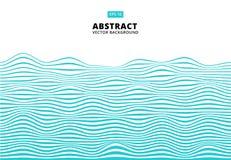 As linhas azuis abstratas acenam, teste padrão ondulado das listras, superfície áspera, V ilustração do vetor
