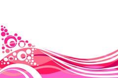 As linhas cor-de-rosa e vermelhas e os círculos abstraem o fundo Fotografia de Stock