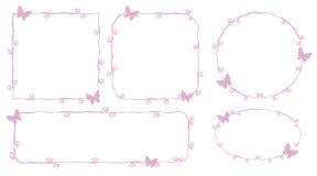 As linhas de contornos cor-de-rosa finas beleza dos esboços do quadro da princesa com as borboletas cor-de-rosa pequenas ondulam  ilustração do vetor