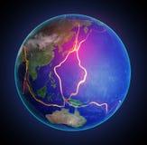 As linhas de falha da terra entre placas tetônicas ilustração royalty free