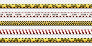 As linhas do cuidado, policiam e não se cruzam, sinais das fitas do perigo no fundo transparente Ilustração do vetor Eps 10 ilustração royalty free