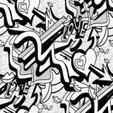 As linhas e o coração monocromáticos dos grafittis em um teste padrão sem emenda do fundo branco vector a ilustração Foto de Stock Royalty Free