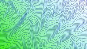 As linhas geométricas curvy coloridas verdes & azuis acenam a textura do teste padrão no fundo colorido ilustração royalty free