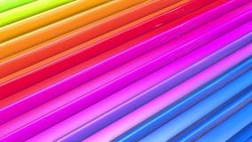 As listras coloridos do arco-íris movem-se ciclicamente Fundo brilhante sem emenda do sumário 3d em 4k Geometria simples nos dese video estoque