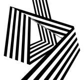 As listras preto e branco abstratas dobraram a forma geométrica da fita Foto de Stock