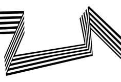 As listras preto e branco abstratas dobraram a forma geométrica da fita Imagem de Stock Royalty Free