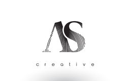 AS Logo Design With Multiple Lines and Black and White Colors. Royalty Free Stock Images