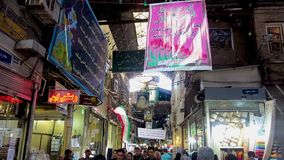 As lojas do bazar de Tehran passam a vista vídeos de arquivo