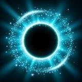 As luzes azuis arredondaram o fundo Foto de Stock