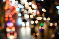 As luzes borraram o fundo do bokeh das luzes do carro Fotografia de Stock