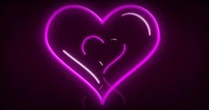 As luzes de néon do coração amam 3D voam a animação ilustração stock