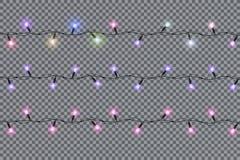 As luzes de Natal isolaram elementos realísticos do projeto ilustração do vetor