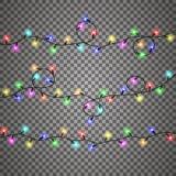 As luzes de Natal isolaram elementos realísticos do projeto ilustração stock