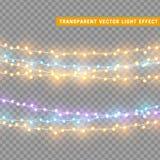 As luzes de Natal isolaram elementos realísticos do projeto Imagens de Stock