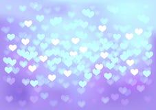 As luzes festivas violetas no coração dão forma, vector Imagem de Stock