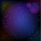 As luzes ou o redemoinho abstrato iluminam o céu estrelado com fundo escuro do brilho para efeitos e fundo Fotos de Stock Royalty Free