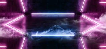 As luzes ultravioletas de néon da dança batem o Grunge escuro vazio de incandescência 3D concreto da reflexão da sala da mostra d ilustração do vetor