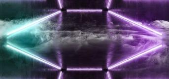 As luzes ultravioletas de néon da dança batem o Grunge escuro vazio de incandescência 3D concreto da reflexão da sala da mostra d ilustração royalty free