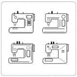 As máquinas de costura dos ícones ajustaram o negócio linear da costura Imagem de Stock