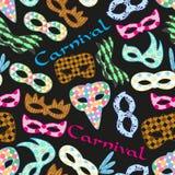 As máscaras coloridas do teste padrão de rio do carnaval projetam o teste padrão escuro sem emenda eps10 Imagens de Stock