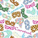 As máscaras coloridas do teste padrão de rio do carnaval projetam o teste padrão sem emenda Imagens de Stock Royalty Free