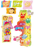 As máscaras do carnaval com as crianças prepararam-se e projeto engraçado colorido dos desenhos animados para livros da infância Fotografia de Stock