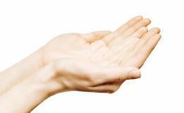As mãos abrem Foto de Stock