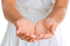 As mãos abrem Fotos de Stock