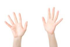 As mãos abrem na oração Foto de Stock Royalty Free