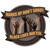 As mãos acima não disparam no botão tipográfico do projeto Imagens de Stock Royalty Free
