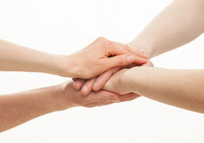 As mãos agrupam no fundo branco Imagens de Stock Royalty Free