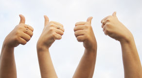 As mãos APROVAM o sinal Imagem de Stock