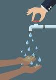 As mãos colocam a água de queda fora da torneira ilustração do vetor