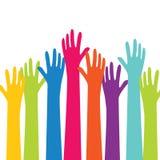 As mãos coloridas levantam o vetor Imagem de Stock