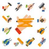 As mãos com construção utilizam ferramentas a ilustração do vetor do trabalhador manual da renovação da casa do equipamento do tr ilustração stock
