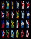 Bandeiras nacionais de America do Norte, sinal da vitória Imagens de Stock Royalty Free