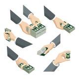 As mãos 3d isométricas lisas com notas do dólar embalam: o dinheiro dá a tomada Fotos de Stock Royalty Free
