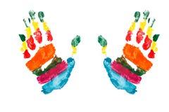 As mãos da aguarela imprimem um miúdo fotos de stock
