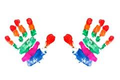 As mãos da aguarela imprimem um miúdo imagem de stock