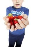 As mãos da criança que guardaram morangos Fotos de Stock
