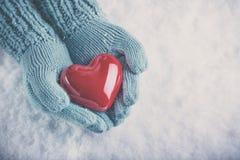 As mãos da mulher cerceta clara em mitenes feitos malha estão guardando o coração vermelho lustroso bonito no fundo da neve Amor, Fotos de Stock