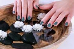 As mãos da mulher com azeitona verde colorem o tratamento de mãos em pregos do dedo imagens de stock
