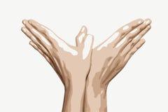 As mãos da mulher fazem a forma do pássaro, gráfico de vetor Imagem de Stock