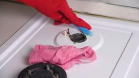 As mãos da mulher no fogão de gás sujo das lavagens de borracha vermelhas das luvas com uma escova e uma esponja video estoque