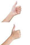 As mãos da mulher que gesticulam o sinal manuseiam honesto e o verso Imagens de Stock