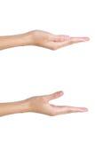 As mãos da mulher que mantêm algo vazio Fotografia de Stock Royalty Free