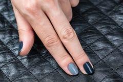As mãos das mulheres com um tratamento de mãos à moda Imagens de Stock Royalty Free